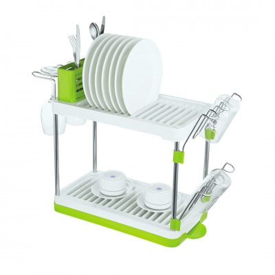 Посудосушитель настольный двухъярусный, Д480 Ш103 В240, хром, белый, зеленый