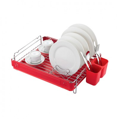 Посудосушитель настольный одноярусный, хром/красный